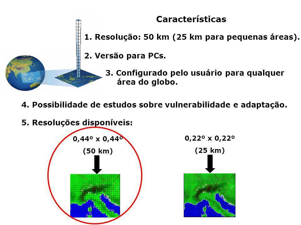 Características 1. Resolução: 50 km (25 km para pequenas áreas).
