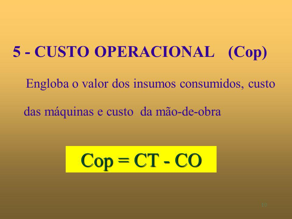 Cop = CT - CO 5 - CUSTO OPERACIONAL (Cop)