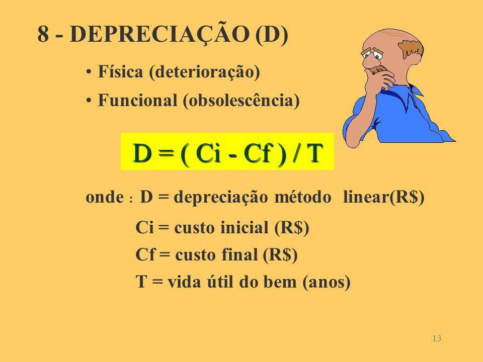 D = ( Ci - Cf ) / T 8 - DEPRECIAÇÃO (D) Física (deterioração)