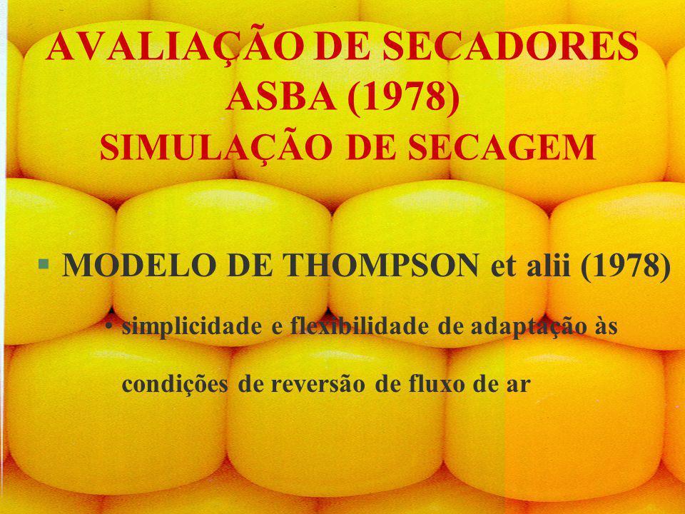 AVALIAÇÃO DE SECADORES ASBA (1978) SIMULAÇÃO DE SECAGEM