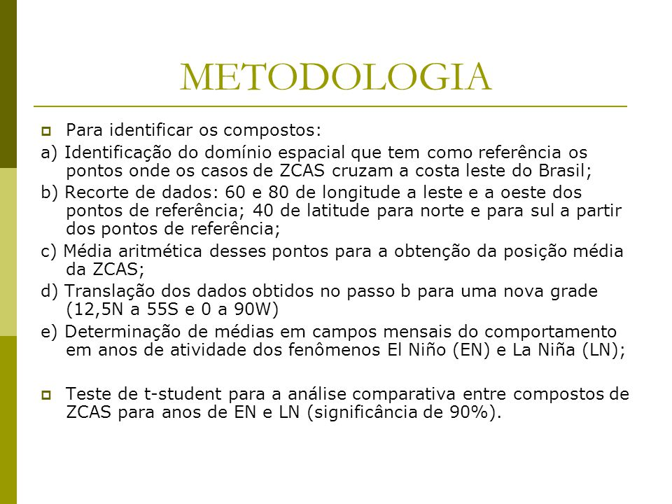 METODOLOGIA Para identificar os compostos: