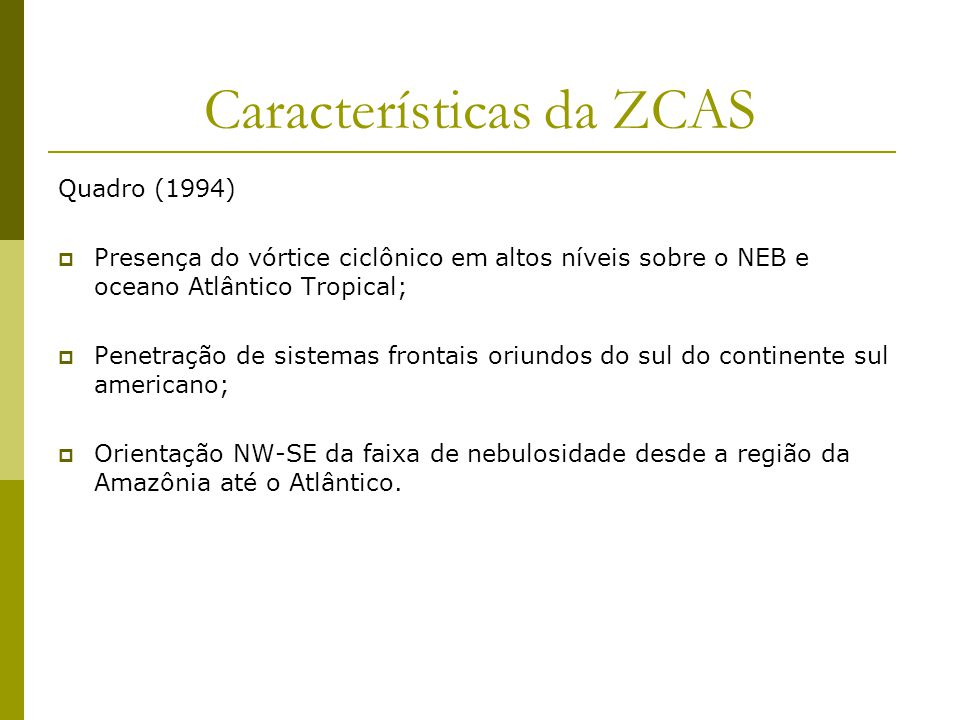 Características da ZCAS