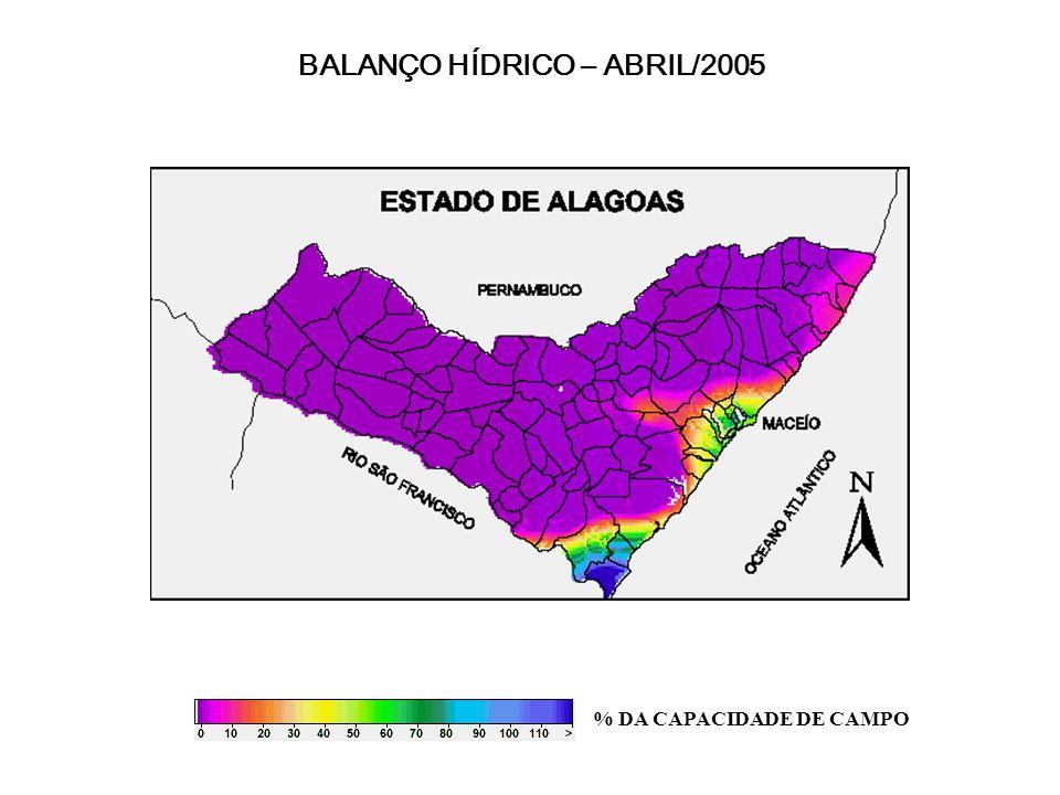 BALANÇO HÍDRICO – ABRIL/2005