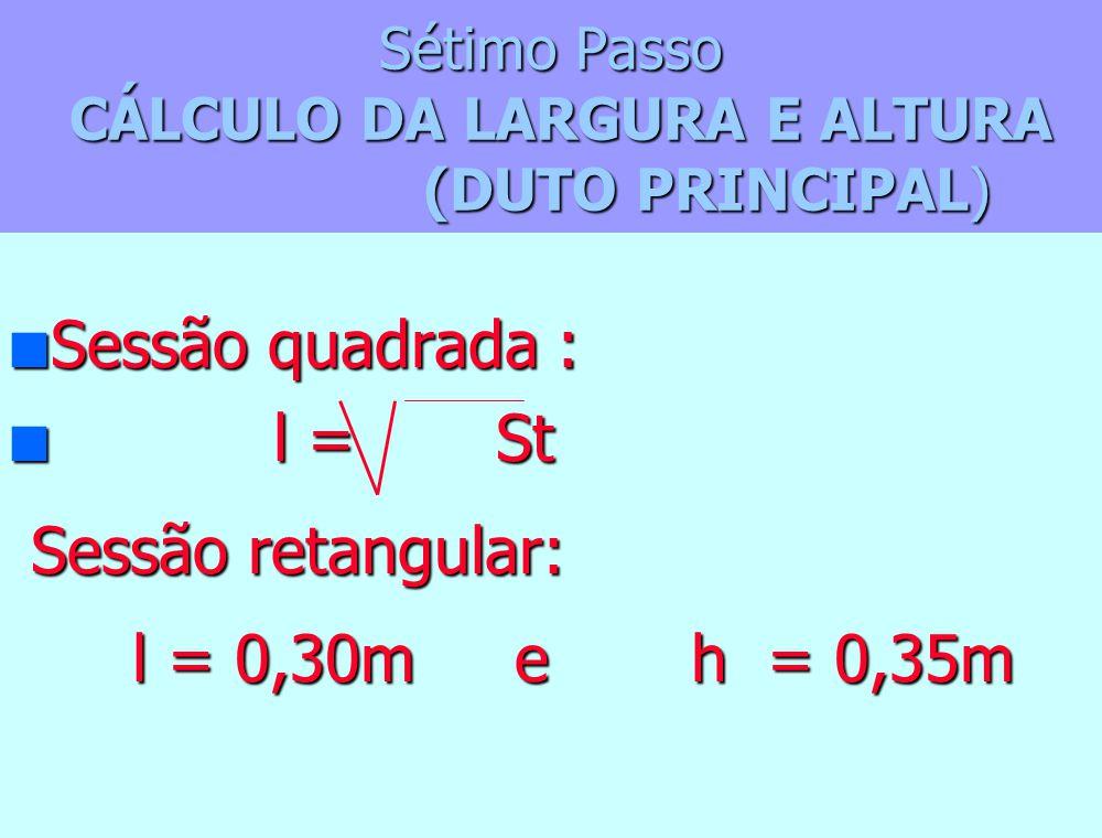 Sétimo Passo CÁLCULO DA LARGURA E ALTURA (DUTO PRINCIPAL)