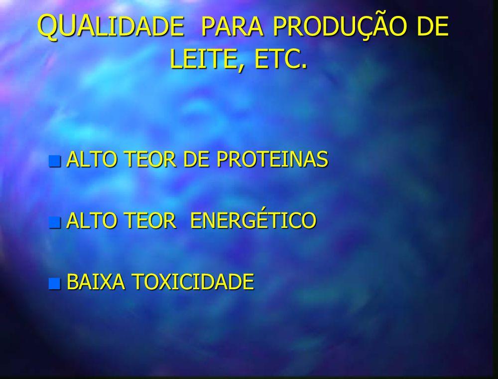 QUALIDADE PARA PRODUÇÃO DE LEITE, ETC.