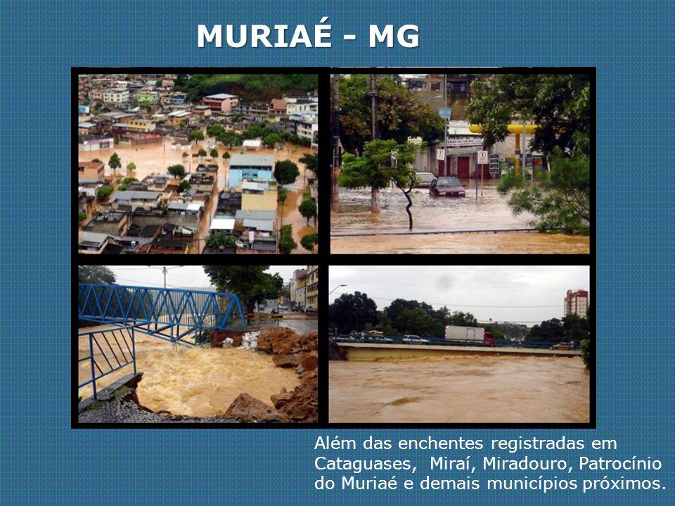 MURIAÉ - MG Além das enchentes registradas em Cataguases, Miraí, Miradouro, Patrocínio do Muriaé e demais municípios próximos.