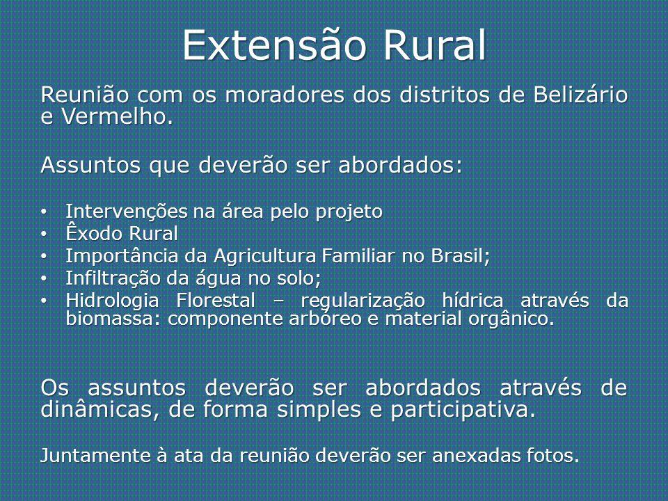 Extensão Rural Reunião com os moradores dos distritos de Belizário e Vermelho. Assuntos que deverão ser abordados: