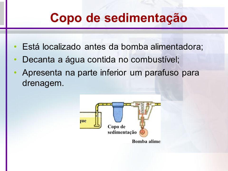 Copo de sedimentação Está localizado antes da bomba alimentadora;