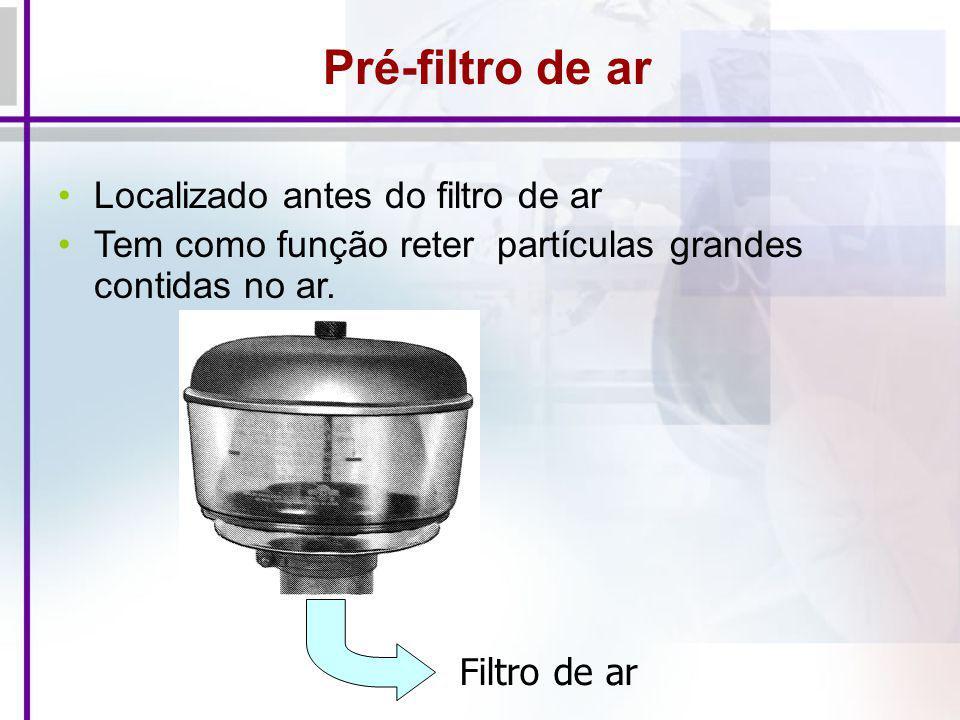 Pré-filtro de ar Localizado antes do filtro de ar