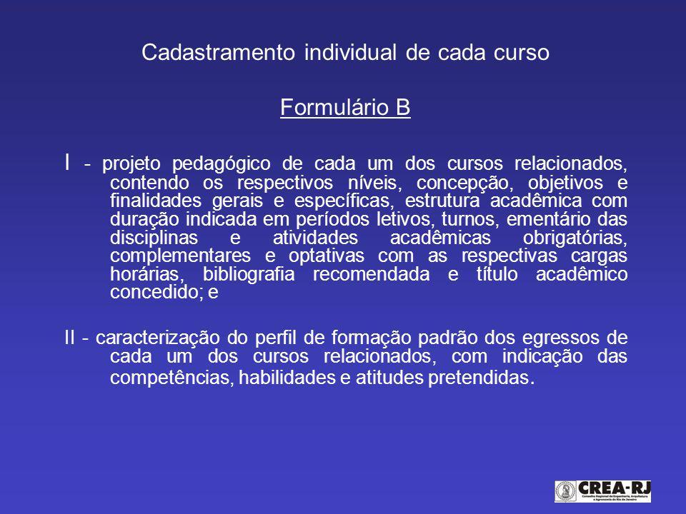 Cadastramento individual de cada curso