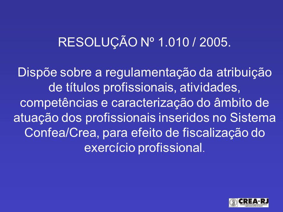 RESOLUÇÃO Nº 1.010 / 2005.