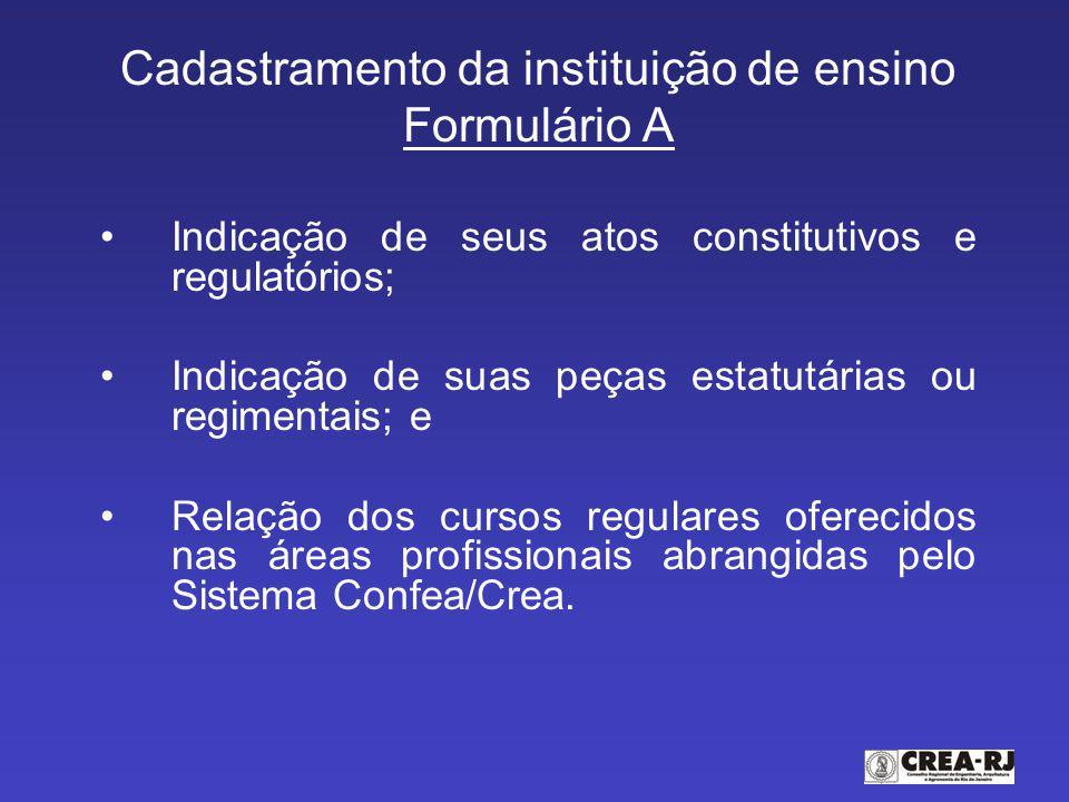 Cadastramento da instituição de ensino