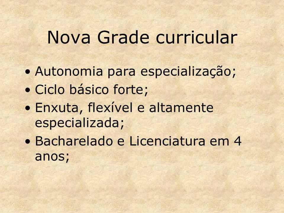 Nova Grade curricular Autonomia para especialização;