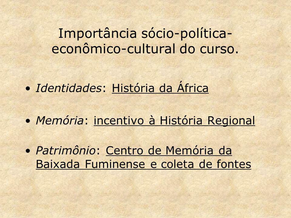 Importância sócio-política-econômico-cultural do curso.