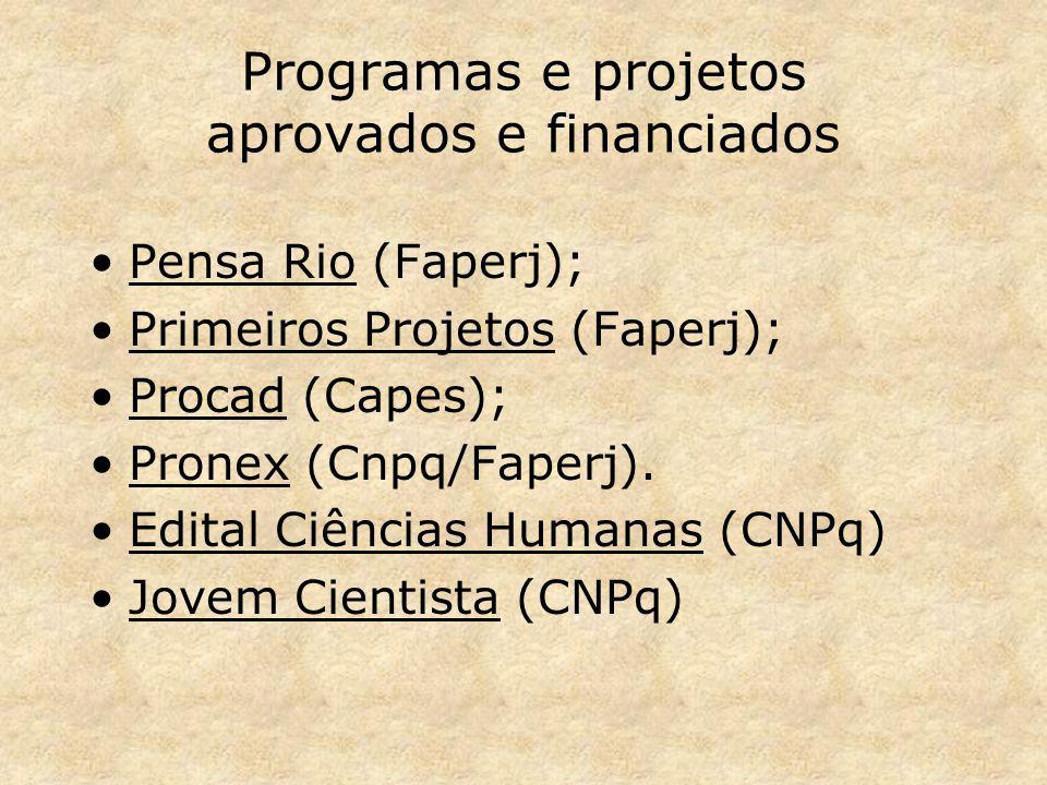 Programas e projetos aprovados e financiados