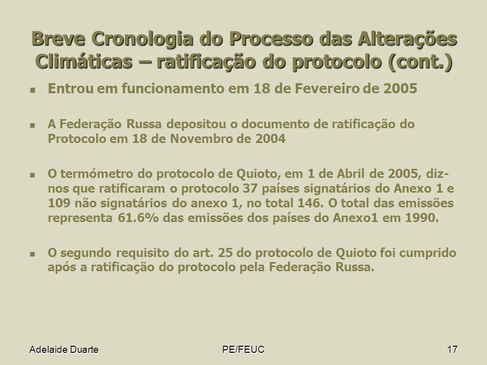 Breve Cronologia do Processo das Alterações Climáticas – ratificação do protocolo (cont.)