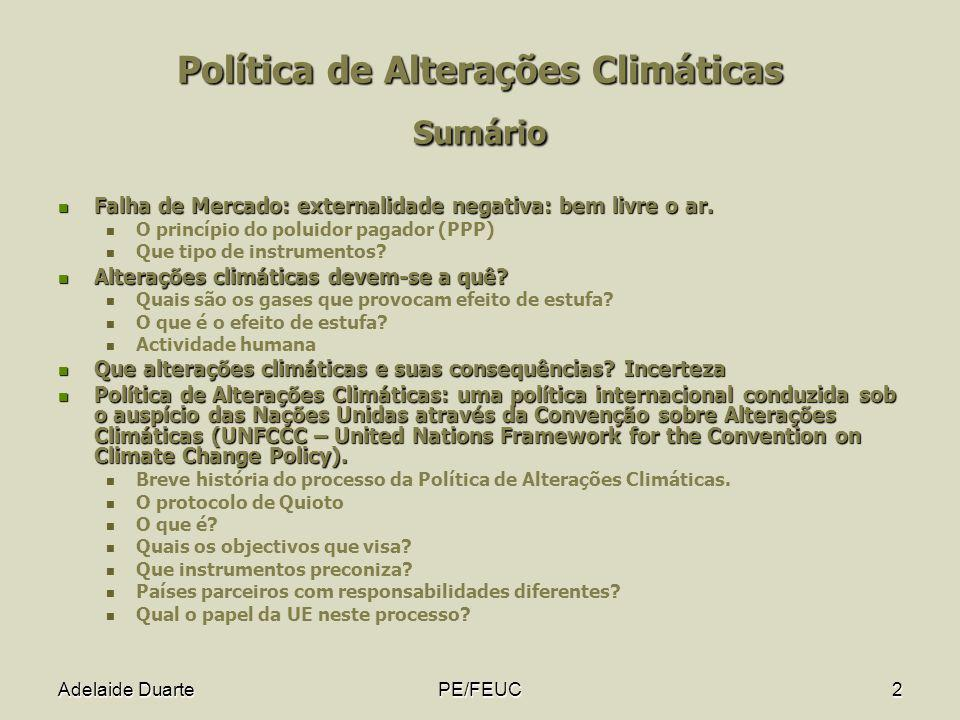 Política de Alterações Climáticas Sumário