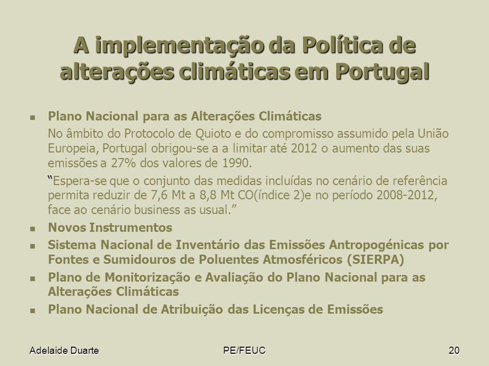 A implementação da Política de alterações climáticas em Portugal