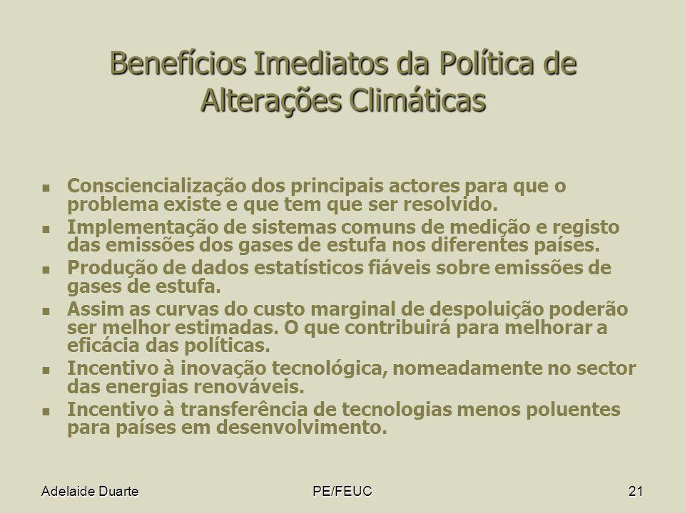 Benefícios Imediatos da Política de Alterações Climáticas