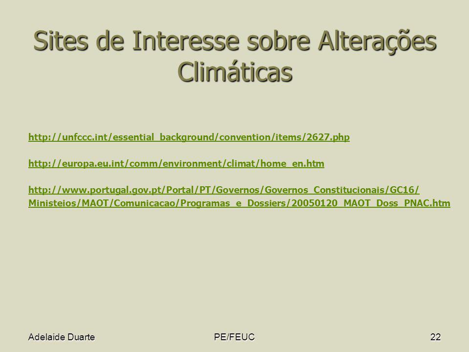 Sites de Interesse sobre Alterações Climáticas