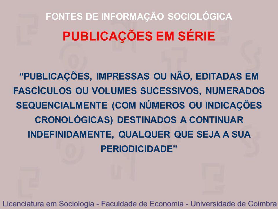 FONTES DE INFORMAÇÃO SOCIOLÓGICA