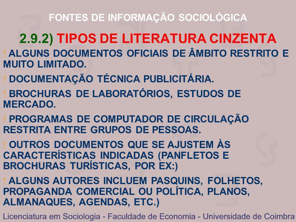 2.9.2) TIPOS DE LITERATURA CINZENTA