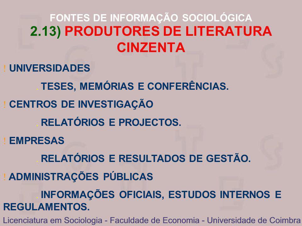 2.13) PRODUTORES DE LITERATURA CINZENTA