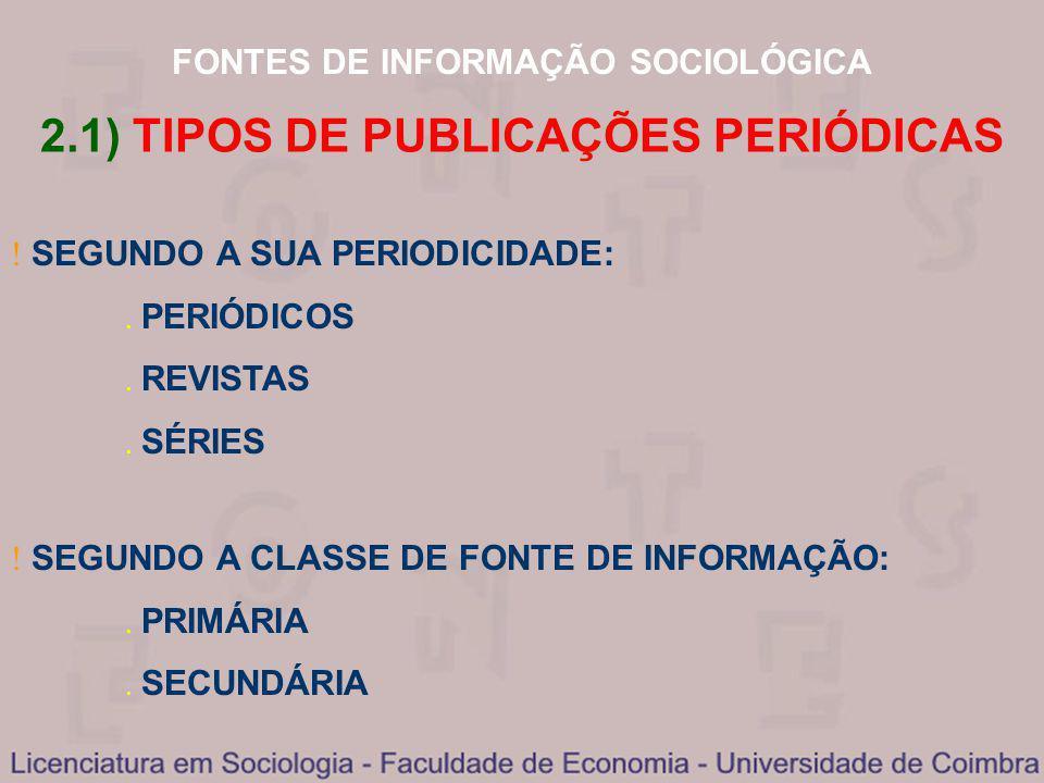 2.1) TIPOS DE PUBLICAÇÕES PERIÓDICAS