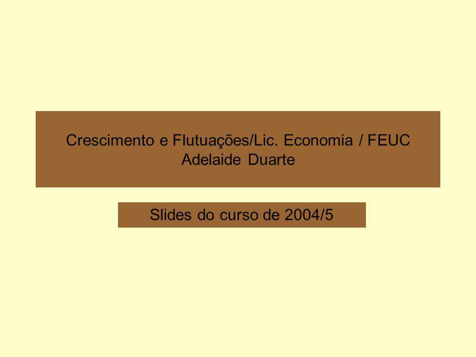 Crescimento e Flutuações/Lic. Economia / FEUC Adelaide Duarte