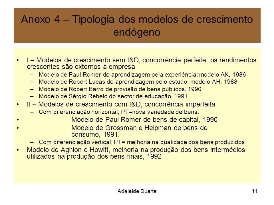 Anexo 4 – Tipologia dos modelos de crescimento endógeno
