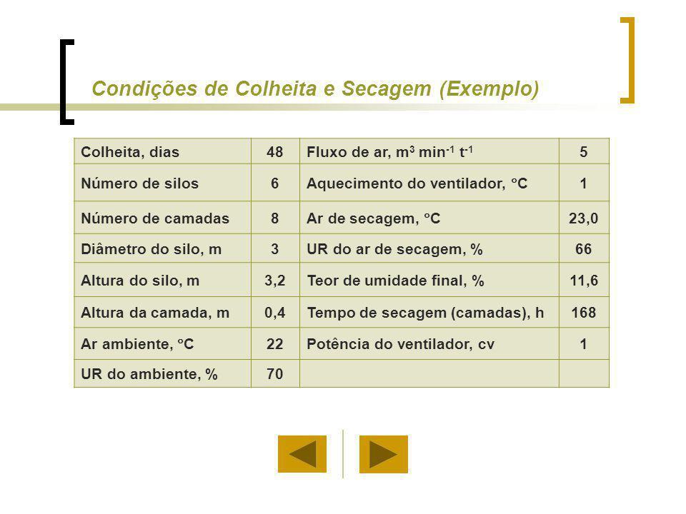 Condições de Colheita e Secagem (Exemplo)