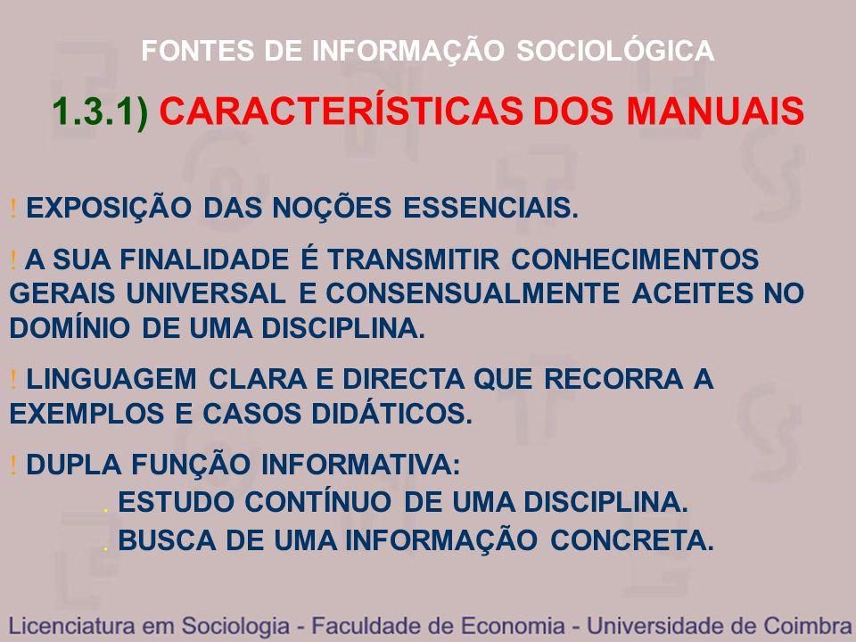 1.3.1) CARACTERÍSTICAS DOS MANUAIS