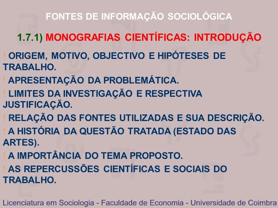 1.7.1) MONOGRAFIAS CIENTÍFICAS: INTRODUÇÃO