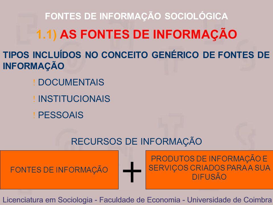 1.1) AS FONTES DE INFORMAÇÃO