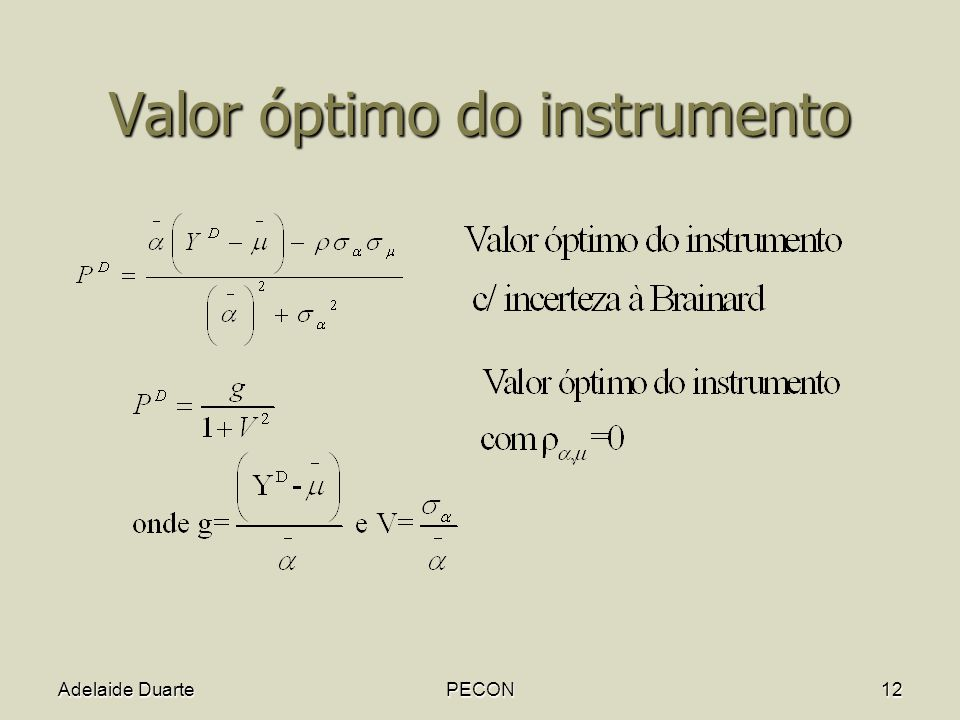Valor óptimo do instrumento