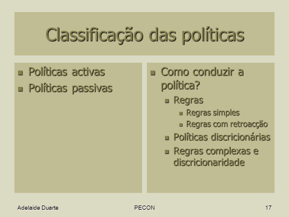 Classificação das políticas