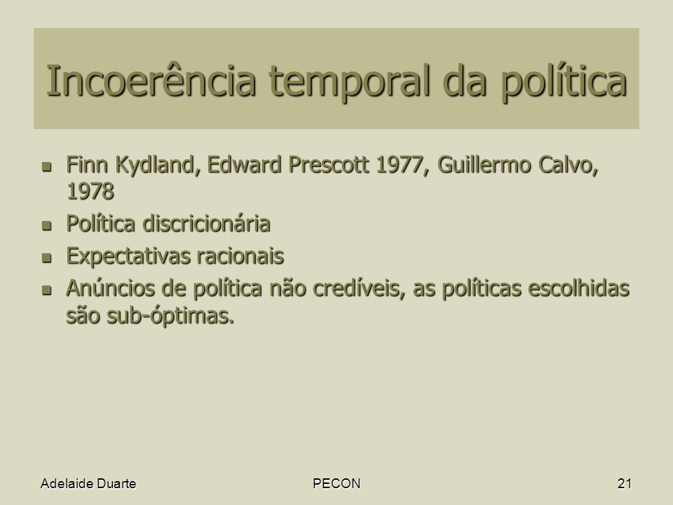 Incoerência temporal da política