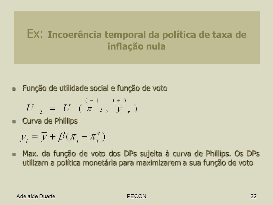 Ex: Incoerência temporal da política de taxa de inflação nula