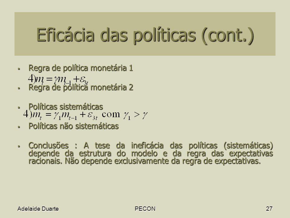 Eficácia das políticas (cont.)