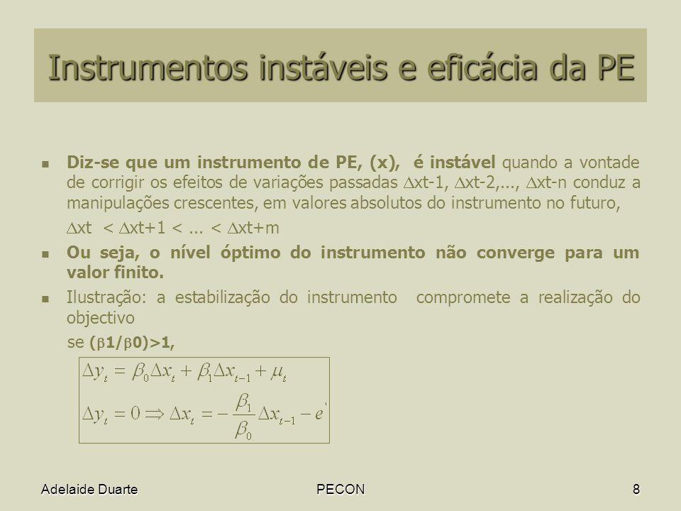 Instrumentos instáveis e eficácia da PE