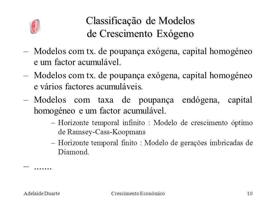 Classificação de Modelos de Crescimento Exógeno