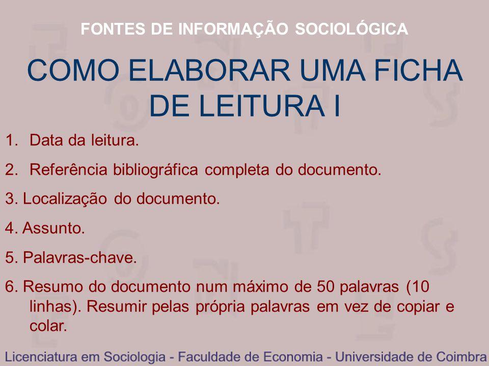 COMO ELABORAR UMA FICHA DE LEITURA I