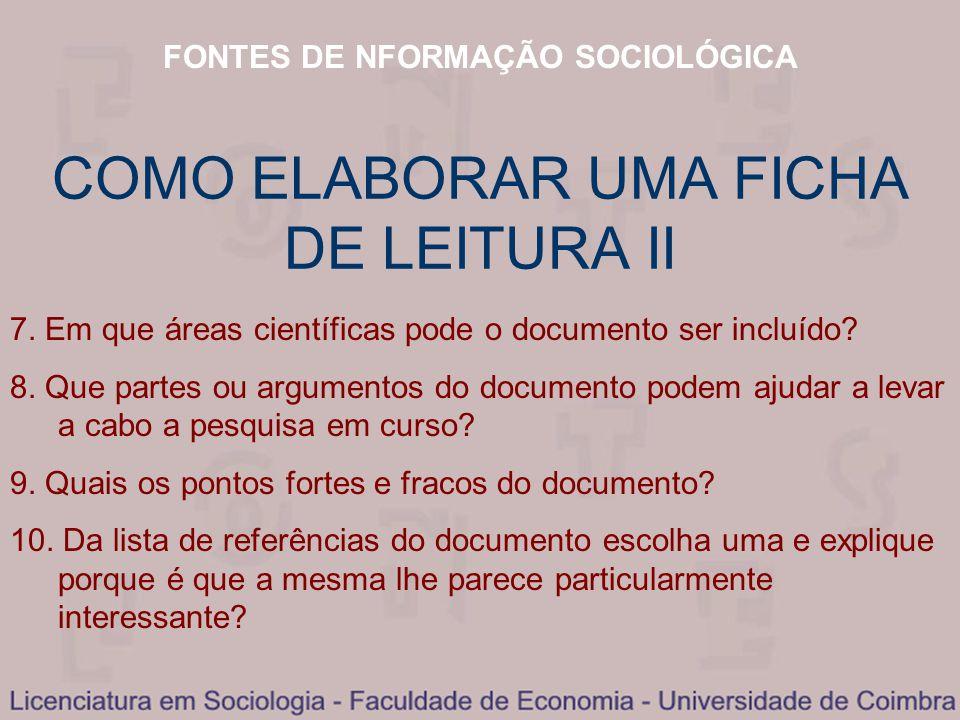 COMO ELABORAR UMA FICHA DE LEITURA II