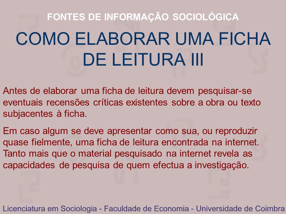 COMO ELABORAR UMA FICHA DE LEITURA III