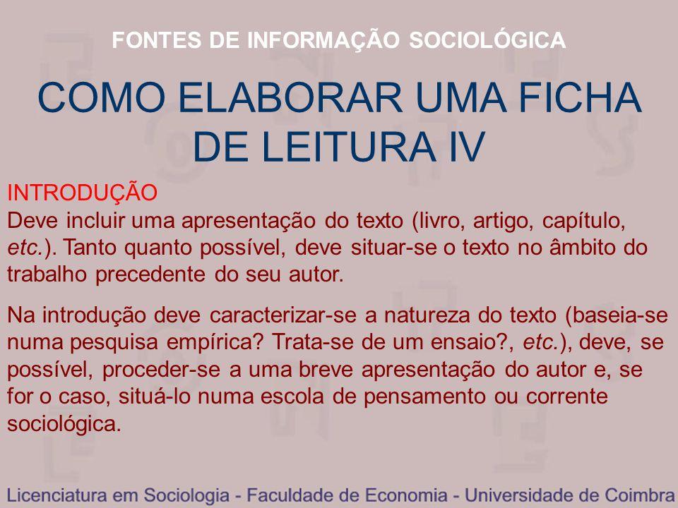 COMO ELABORAR UMA FICHA DE LEITURA IV