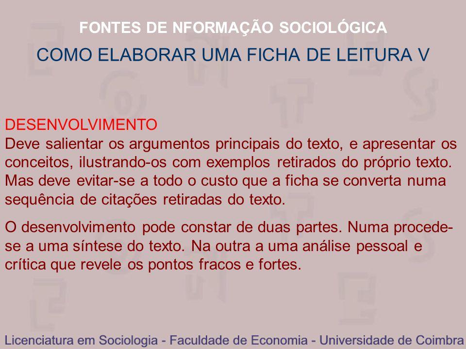 COMO ELABORAR UMA FICHA DE LEITURA V