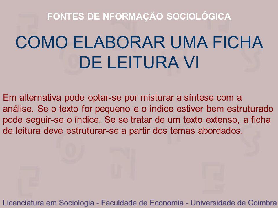 COMO ELABORAR UMA FICHA DE LEITURA VI