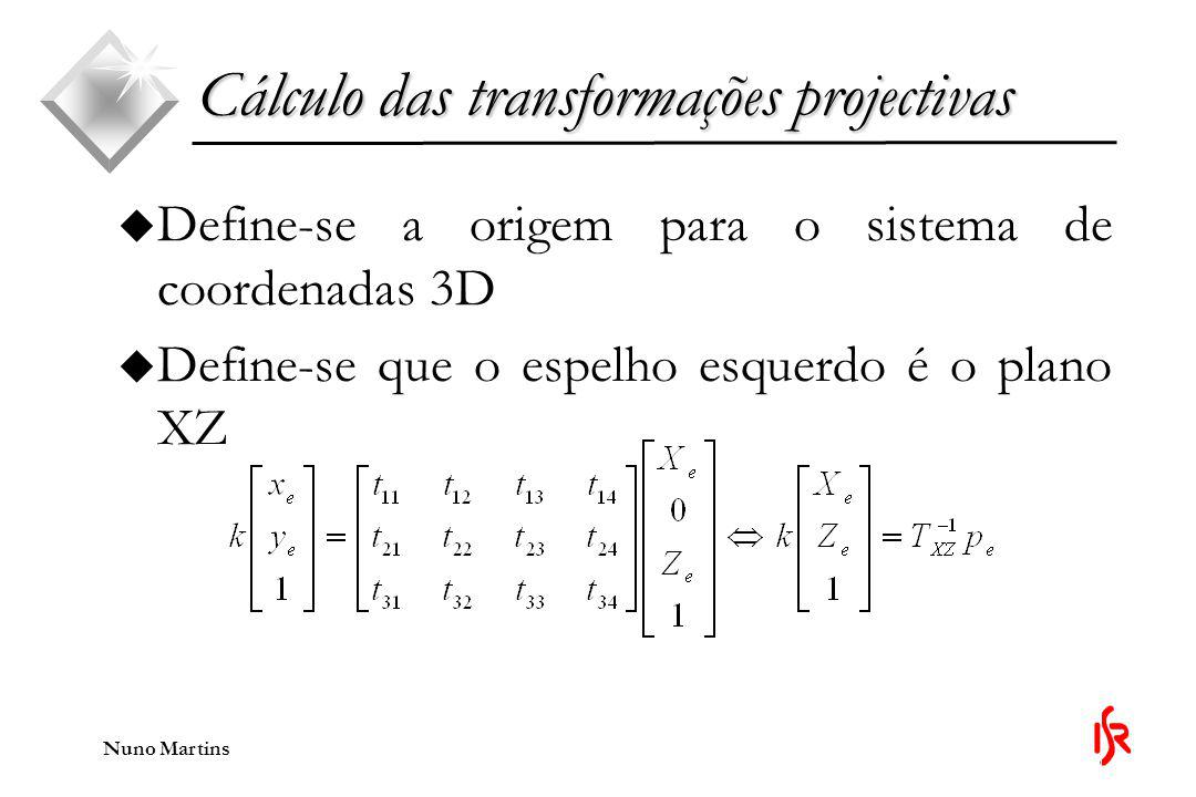 Cálculo das transformações projectivas