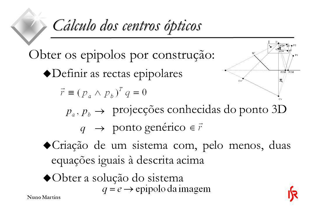 Cálculo dos centros ópticos