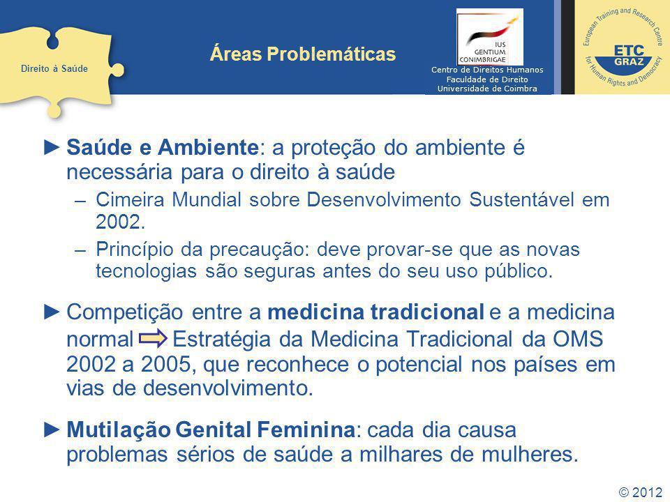 Áreas Problemáticas Direito à Saúde. Centro de Direitos Humanos. Faculdade de Direito. Universidade de Coimbra.